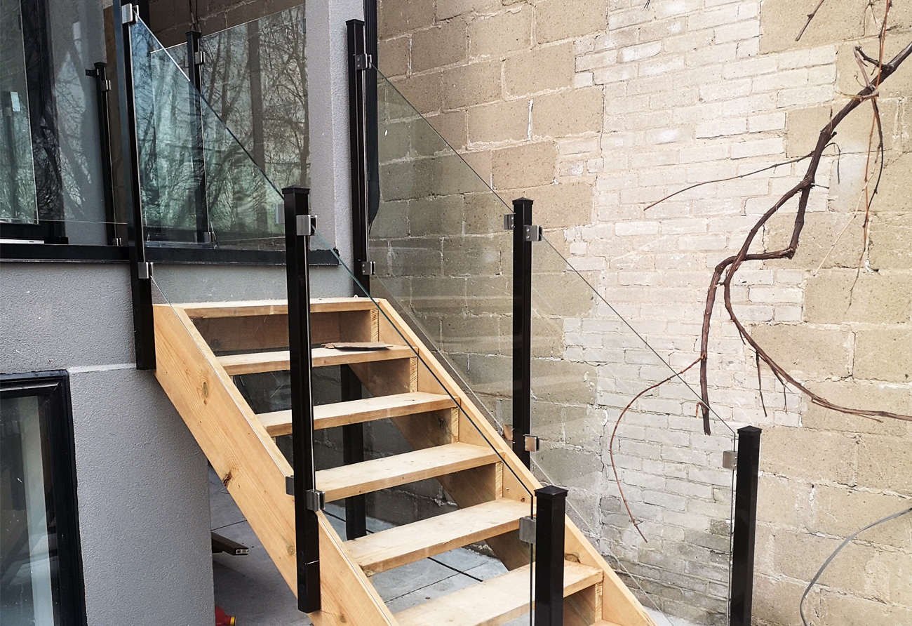 Glass Railing Project Toronto side mounted stairs
