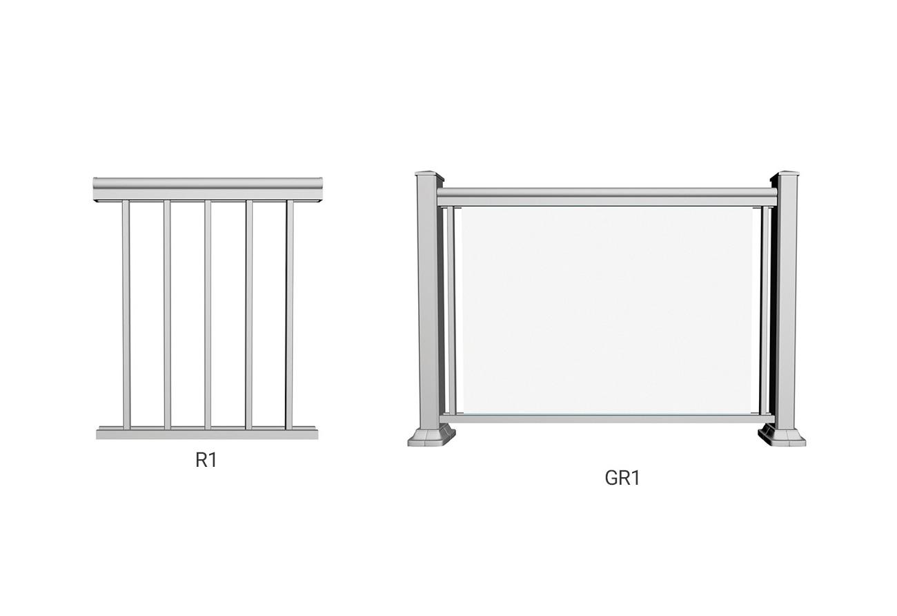 GR1 clear finish R1 railings pewter backyard