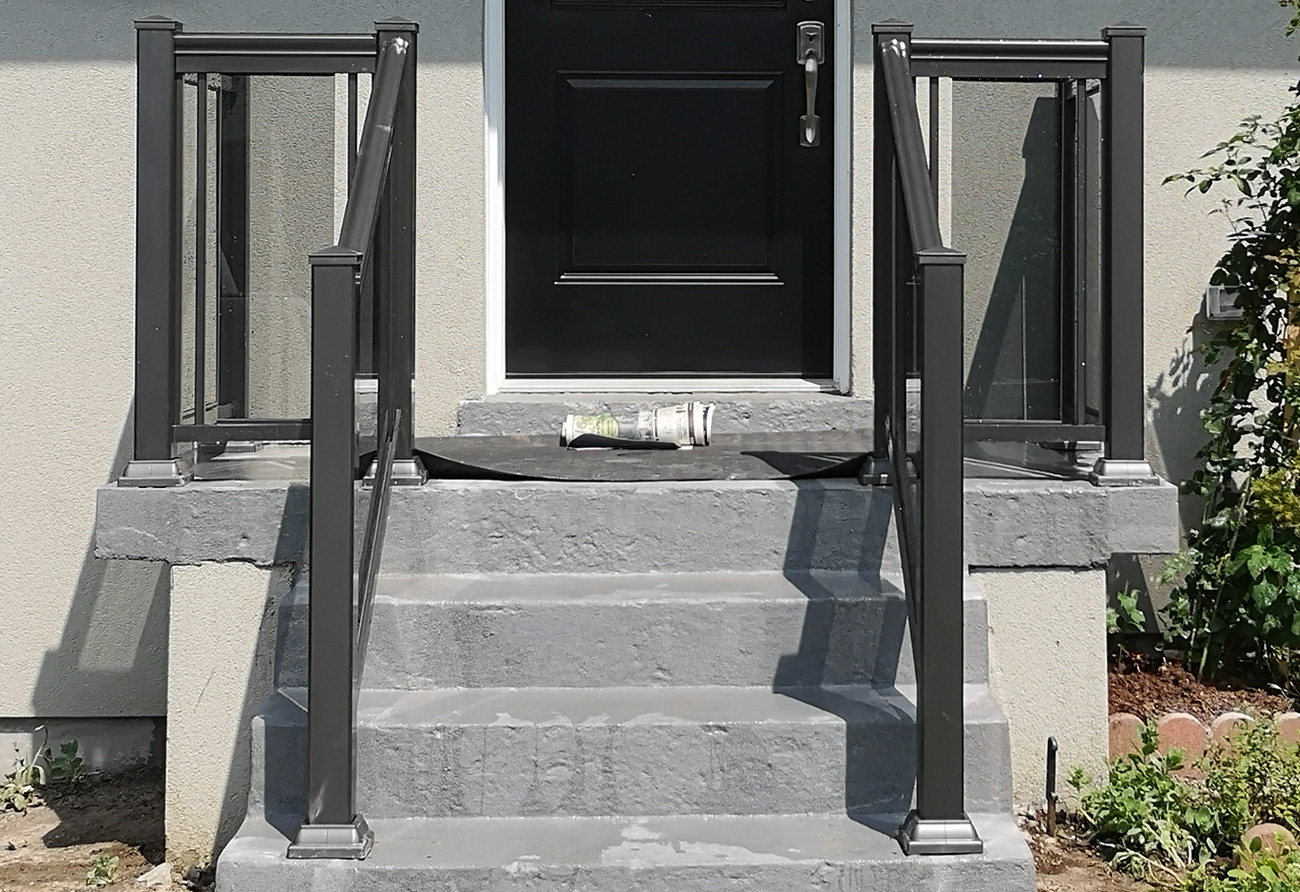 GR1 glass railing tint finish pewter posts