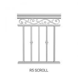 R5 Scroll aluminum railing