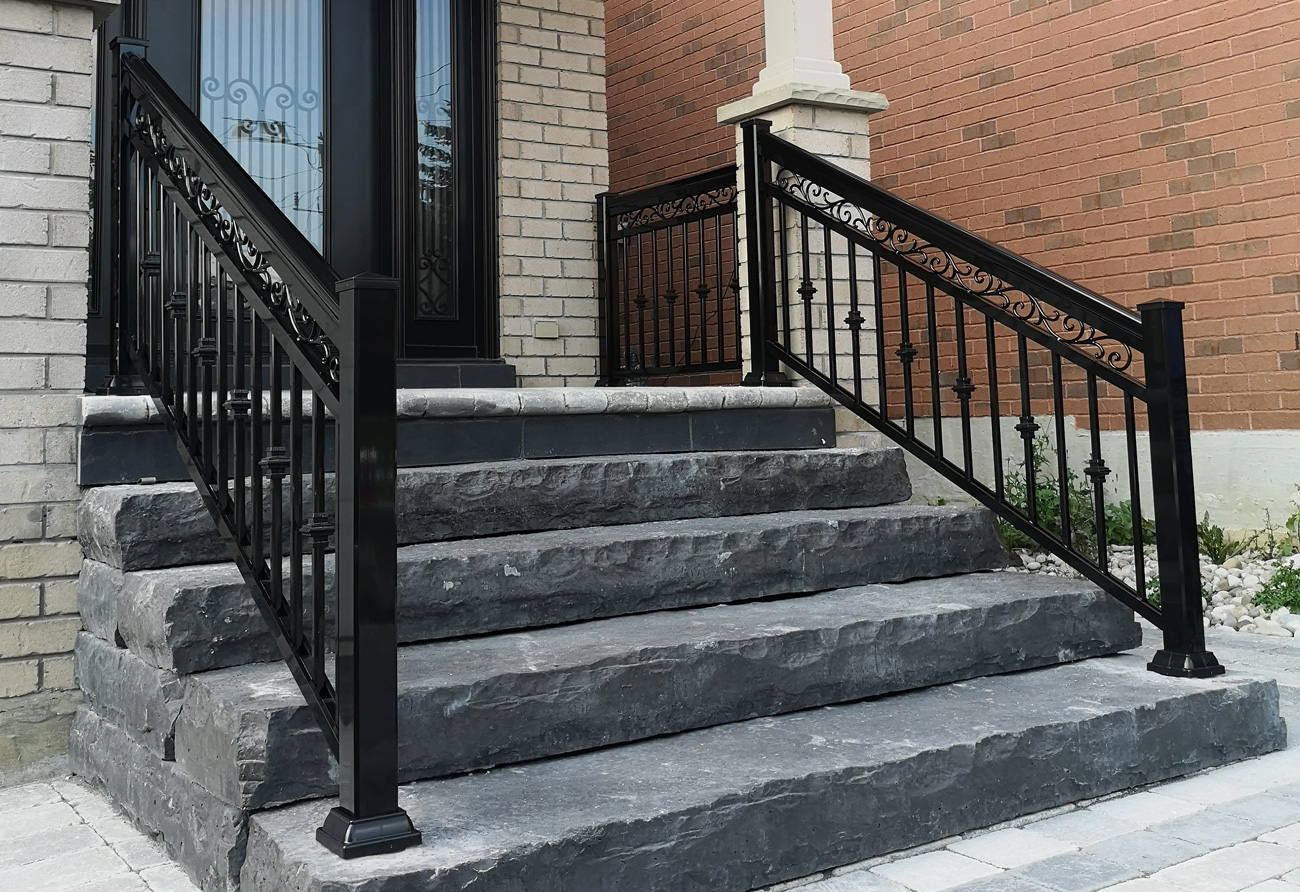 Entry Aluminum Railings R5 Scroll Black